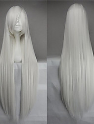 Hot Sale 40 Inches High Temperature Fiber Long Straight White Cosplay Costume Wig Side Bang