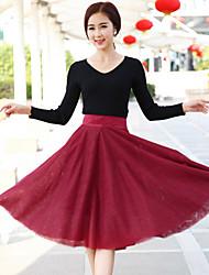 Women's Casual Micro Elastic Medium Knee length Skirts (Satin/Mesh)