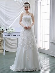 Sheath / Column Wedding Dress Sweep / Brush Train Strapless Lace with