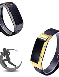 OLED Screen Showing Time Bluetooth 4.0 PU Leather Bracelet Waterproof Multifunction Wristband Pedometer