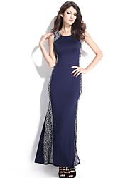 Women's Navy Lace Side Maxi Dress Fish Tail Dresses