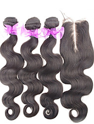 4Pcs/Lot Brazilian Virgin Hair With Closure 3 Bundles Unprocessed Brazilian Body Wave With Lace Closure