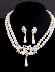Women's Silver/Alloy Wedding/Party Jewelry Set Earring Necklace With Rhinestone White Pearls For Bridal