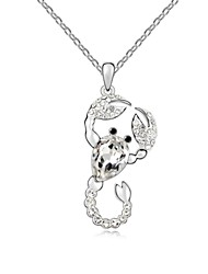 Spirit of Scorpio Short Necklace Plated with 18K True Platinum Crystal Clear Crystallized Austrian Crystal Stones