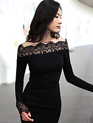 Women's Casual/Lace Off Shoulder Stretchy Long Sleeve Regular T-shirt (Lace/Vicose)