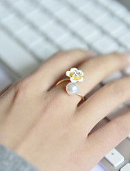Fashion Women Enamel Crystal Flower Open Adjustable Ring