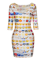 PinkQueen® Women's Polyester White  Colorful Crew Neck Cute Emoji Printed Half Sleeve Dress