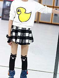 Girl's Sweet Black/White Check with Lining Tweed Short Skirts