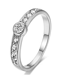 HKTC Concise Crystal Band Ring 18k White Gold Plated Rhinestones Studded Eternity Wedding Jewelry