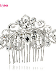 Neoglory Jewelry Heart Hair Comb Tiara with Drop Rhinestone for Lady Bridal/Wedding/Daily/Pageant