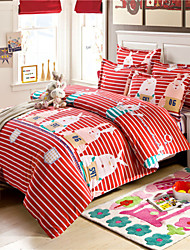 Red Rabbit Striped Duvet Covers Cotton Fabric