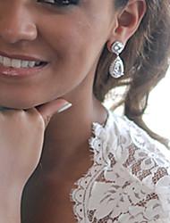 Women's Silver Zircon Crystal Diamond Earring For Birde Wedding
