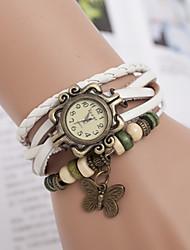 yoonheel Damen Modeuhr Armband-Uhr Quartz Leder Band Schmetterling Böhmische Schwarz Weiß Braun Weiß Schwarz Braun