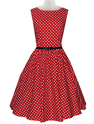 Women's Vintage Slim Polka Dot Printing Sleeveless Dress(With Belt)