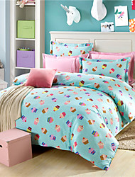 Blue Polka Dot Beds Ice Cream Cake Patterns Ikea Cover for Bed 100% Cotton