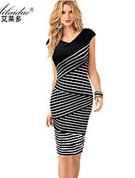 women's V-neck Sleeveless twill sllim pencil skirt (Polyester)