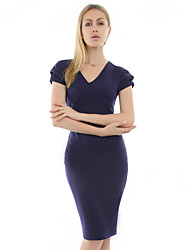 VICONE Women's Low-cut Bodycon OL Slim Long Pencil Dresses