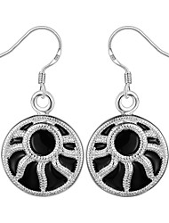lureme®Fashion Style Silver Plated Round Shaped Dangle Earrings