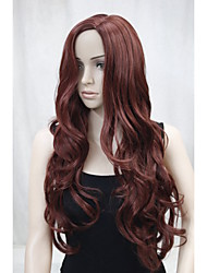 New Fashion No Bangs Side Skin Part Top Women's Reddish Auburn Long Curly Wavy Wig