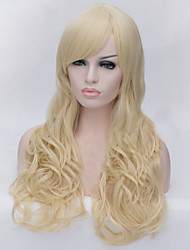 The New Cartoon Color Wig Flaxen Inclined Bang Curly Hair Wigs