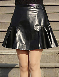 Women's Fashion Black PU Mini Skirts