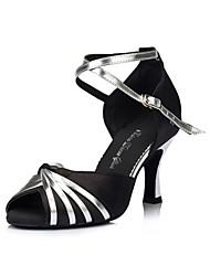 Non Customizable Women's Dance Shoes Latin / Salsa Satin / Flocking Flared Heel Black / Gold