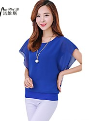 Women's Blue/Red/Black/Purple Blouse Short Sleeve