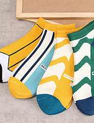 Women Line Pattern Cotton Medium Socks