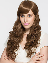 Lady's Extra Long Brown Natural Wave Synthetic Wig