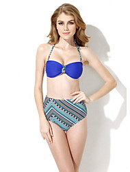 Colloyes 2015 New Sexy Royal Blue+ Ethnic Bikini Swimwear with Bandeau Top and High-waist Bottom in Low Price