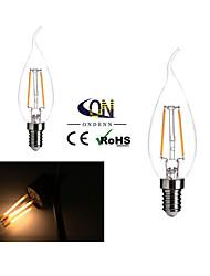 2 Stück ONDENN E12 2 COB 200 LM Warmes Weiß CA35 edison Vintage LED Glühlampen AC 110-130 V