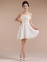 Short/Mini Chiffon Bridesmaid Dress - Champagne Sheath/Column Strapless