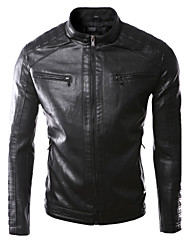 JOGAL Men's high Quality Trend PU Black Leather Jacket