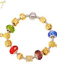 U7® Women's European 18K Real Gold Plated Rhinestone DIY Romantic Heart Charms Beaded Bracelet