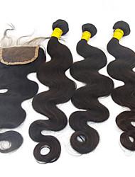 """4pcs lot 10 """"28"""" peruanisches besten Echthaar Extensions mit Verschluss 6a Grade remy Haar weich reines Haar Top-Qualität"""