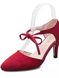 Damesschoenen - Pumps/Heels Zwart/Grijs/Rood )met Naaldhak
