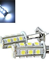 4W H1 Lampe de Décoration 13 SMD 5050 150-200 lm Blanc Froid Décorative DC 12 V 2 pièces