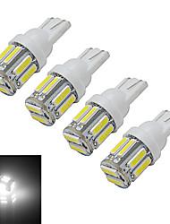 3W T10 Lampe de Décoration 10 SMD 7020 210lm lm Blanc Froid DC 12 V 4 pièces