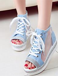 Women's Shoes Flat Heel Peep Toe Sandals Dress Blue/White