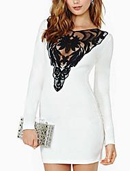 Women's White Dress , Casual Long Sleeve