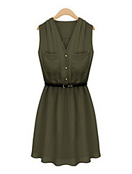 Women's Black/Green/Yellow Dress , Casual Sleeveless