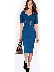 Women's Work Dress Knee-length Cotton Blends
