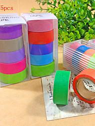 15PCS Popular Rainbow Washi Sticky Paper Masking Adhesive Decorative Tape Scrapbooking DIY