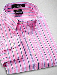 U&Shark Men's Fine Oxford Long Sleeve Shirt with Pink Blue White Stripes/CNJ094