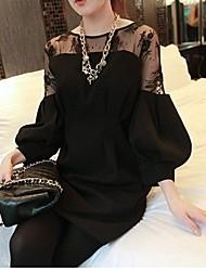 Women's Micro-elastic Long Sleeve Mini Dress