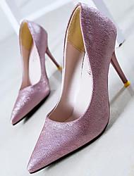 Women's Shoes Leather/Glitter Stiletto Heel Heels Pumps/Heels Office & Career/Party & Evening/Dress Black/Purple/White