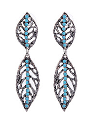 Ethnic Vintage Fashion Unique Design Mini Resin Beads Retro Leaf Shaped Dangle Earrings Jewelry for Women