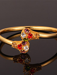 U7 Cute Cuff Bracelet Bangle 18K Real Gold Platinum Plated Multi Color Rhinestone Jewelry for Women High Quality
