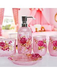 The Love Rose Bathroom Ware 5 Sets/Pink