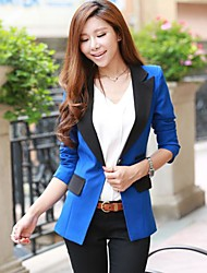 Women's Patchwork Blue / Pink / Black / Green / Yellow Blazer , Casual Shirt Collar ¾ Sleeve